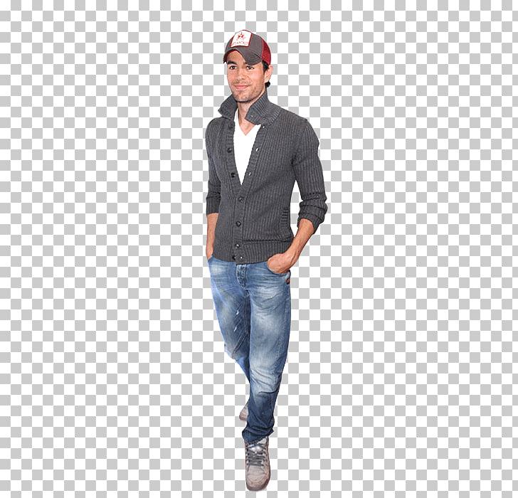 Enrique Iglesias Walking, man wearing cardigan and blue.