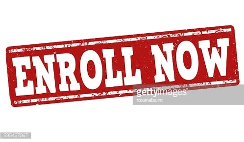 Enroll now stamp Clipart Image.