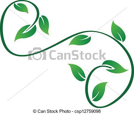 EPS Vectors of Green swirly leaves logo vector csp12759098.