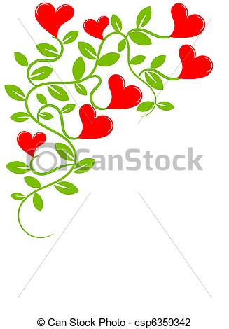 Vector Illustration of Plant with hearts.