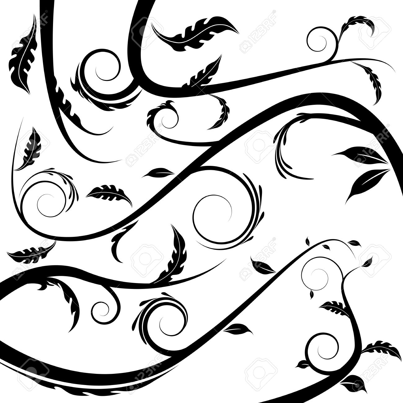 Una Imagen De Una Enredadera De Flores. Ilustraciones Vectoriales.