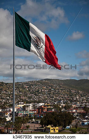 Stock Image of Large flag above Ensenada Mexico k3467935.