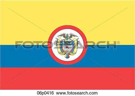 Clip Art of colombia flag, war ensign 06p0416.