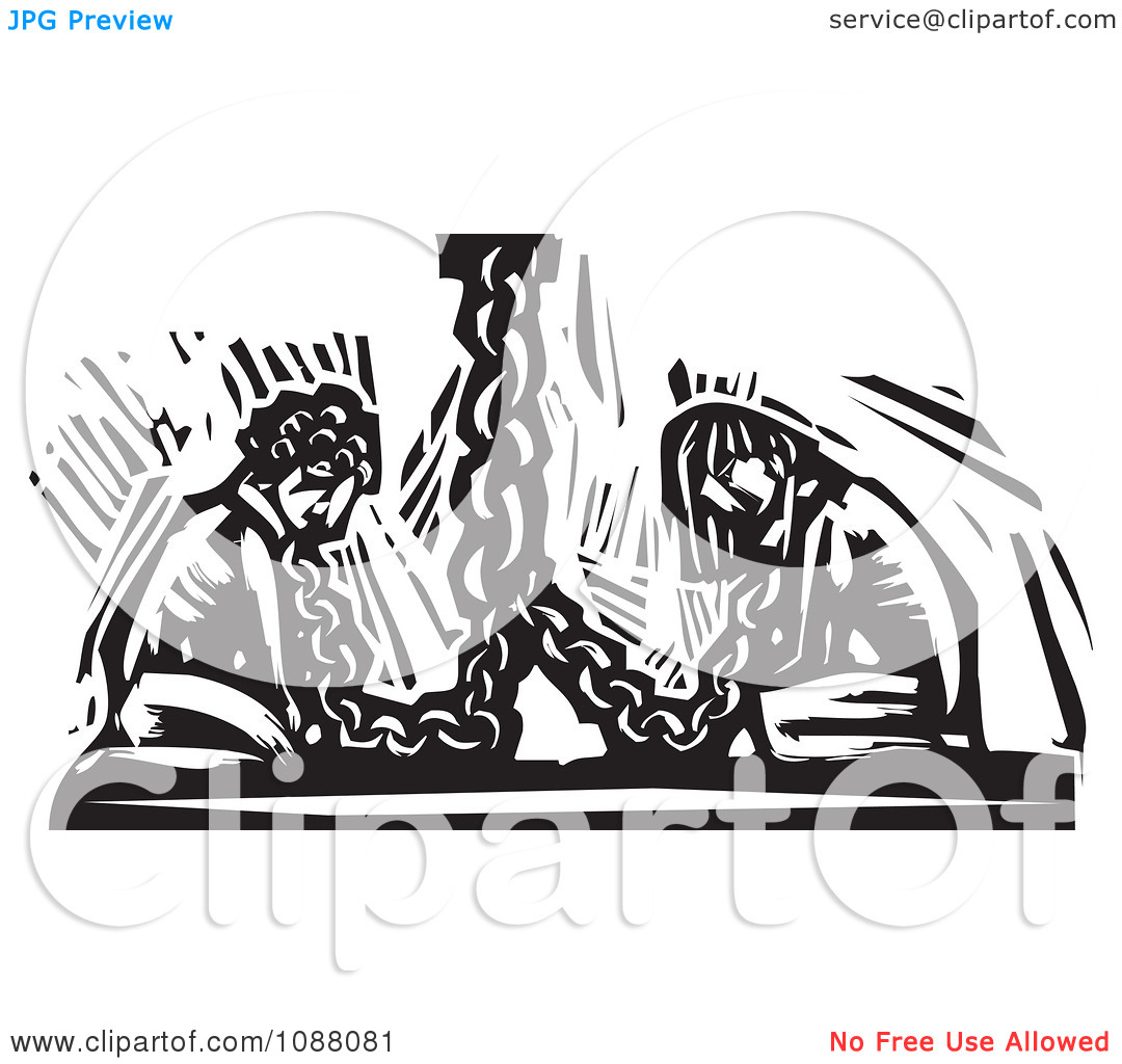 Clipart Chained Slaves Black And White Woodcut.