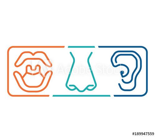 ENT logo template clinic.Otolaryngology Ear, nose, throat doctor.
