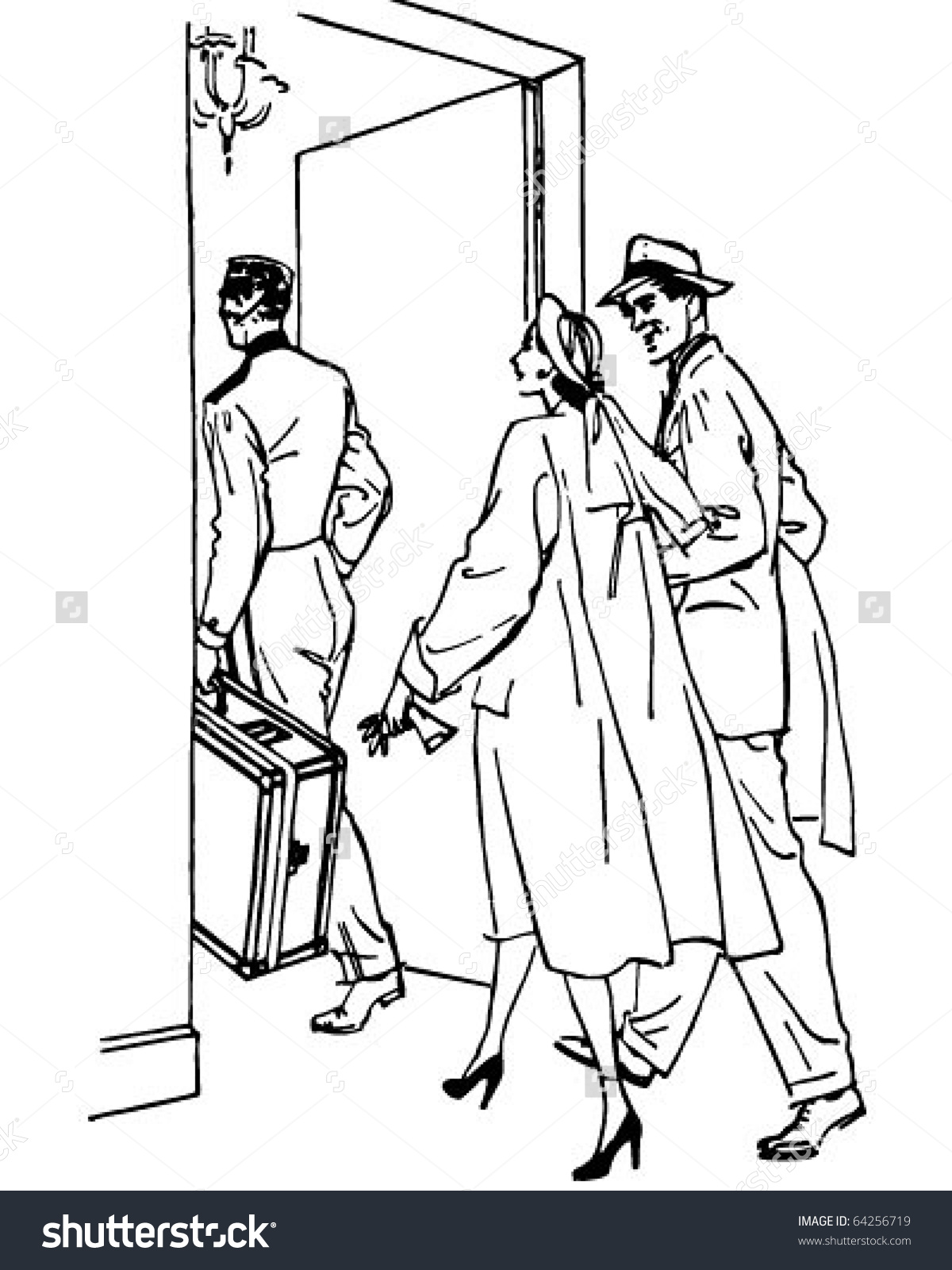 Travelers Entering Hotel.