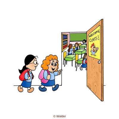 Students entering classroom clipart.