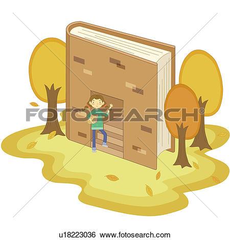 Stock Illustration of Girl entering book house u18223036.