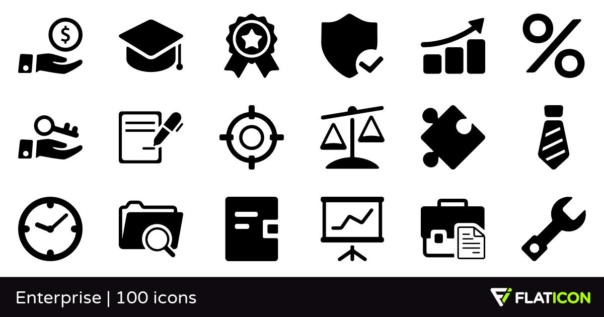 Enterprise 100 premium icons (SVG, EPS, PSD, PNG files).