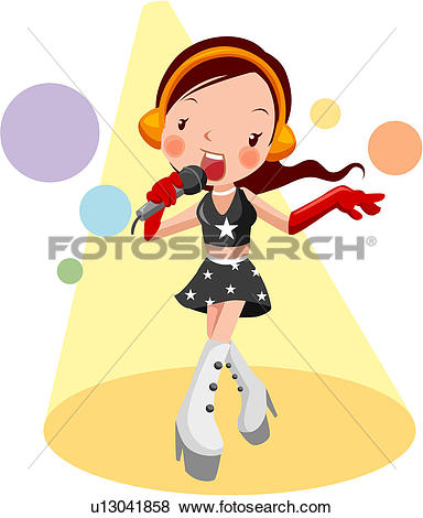 Clip Art of song, show, singing, full age, entertainer u13041858.