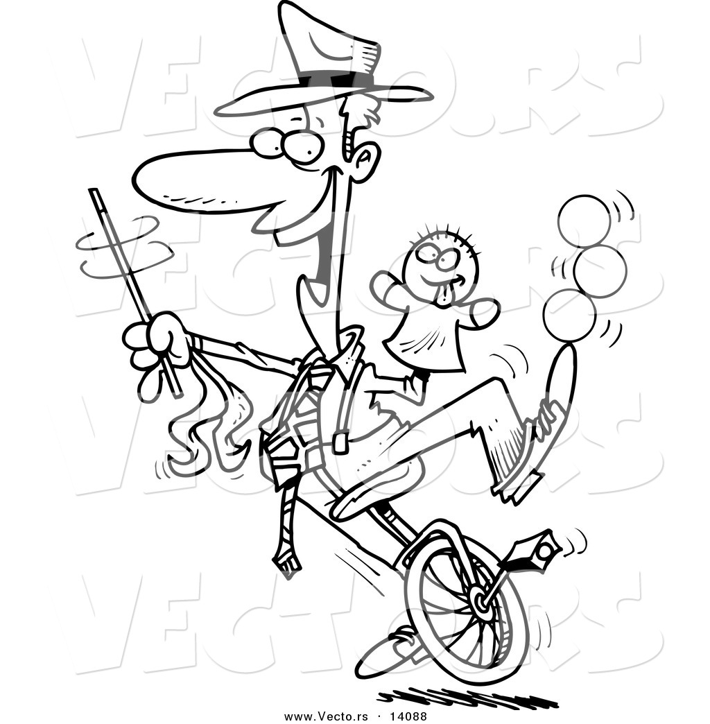 Vector of a Cartoon Male Entertainer Doing Tricks on a Unicycle.