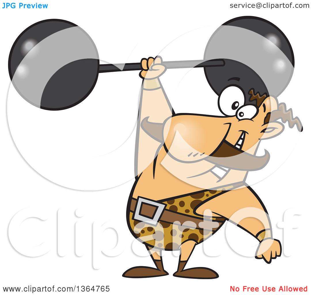 Cartoon Clipart of a Caucasian Strongman Entertainer Holding a.