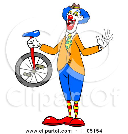Clipart Happy Entertainer Clown Standing In Profile And Waving.