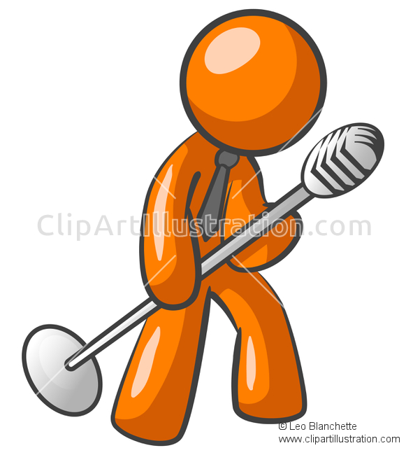 ClipArt Illustration Orange Man Singer/Crooner/Entertainer Tilting.