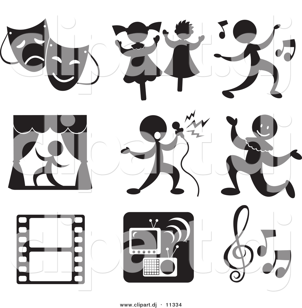 Vector Clipart of 9 Music and Entertainment Related Icons by.