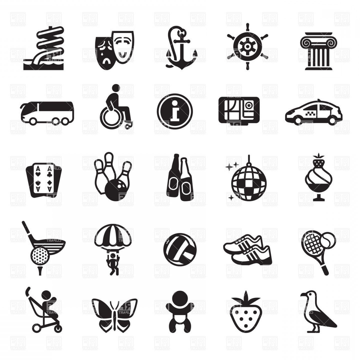 Recreation Sport And Entertainment Icons Vector Clipart.