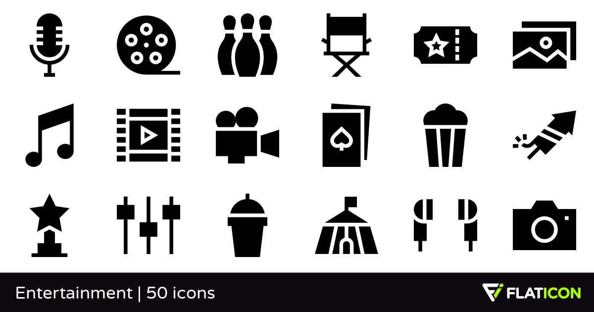 Entertainment 50 free icons (SVG, EPS, PSD, PNG files).