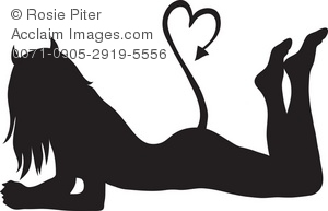 Clipart Illustration of a Sexy Devil Girl, Alluring in Enticing in.