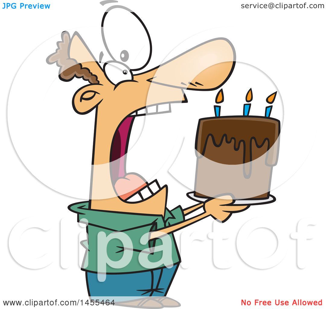 Clipart of a Cartoon White Man Swallowing an Entire Birthday Cake.