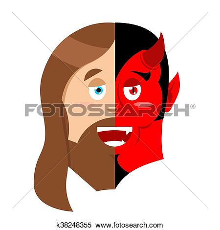 Clipart of Two face Jesus and devil. Half face of Son of God and.