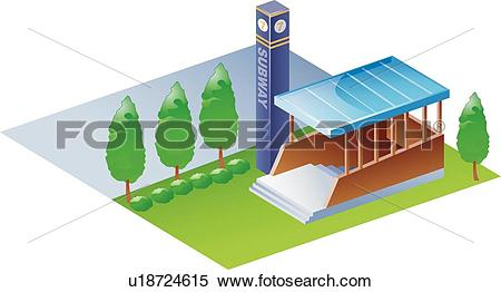 Clipart of Modern architecture, icons, Subway entrance, buildings.