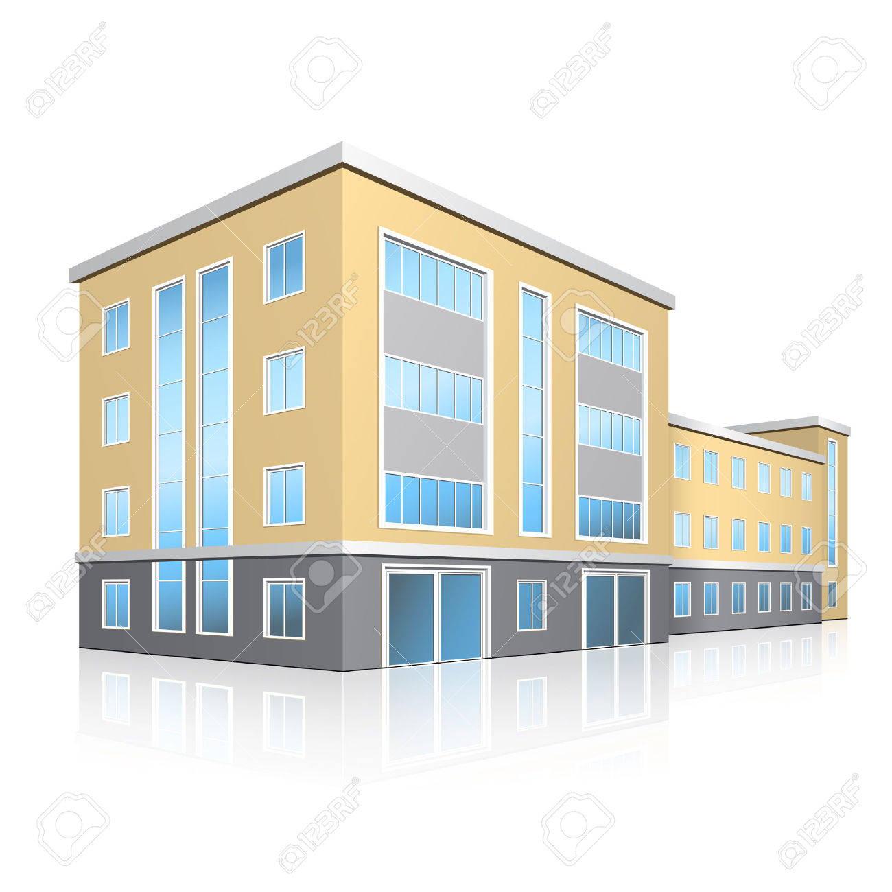 Office Building With Entrance And Reflection On White Background.