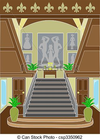 Vector Illustration of Grand Staircase upscale setting.