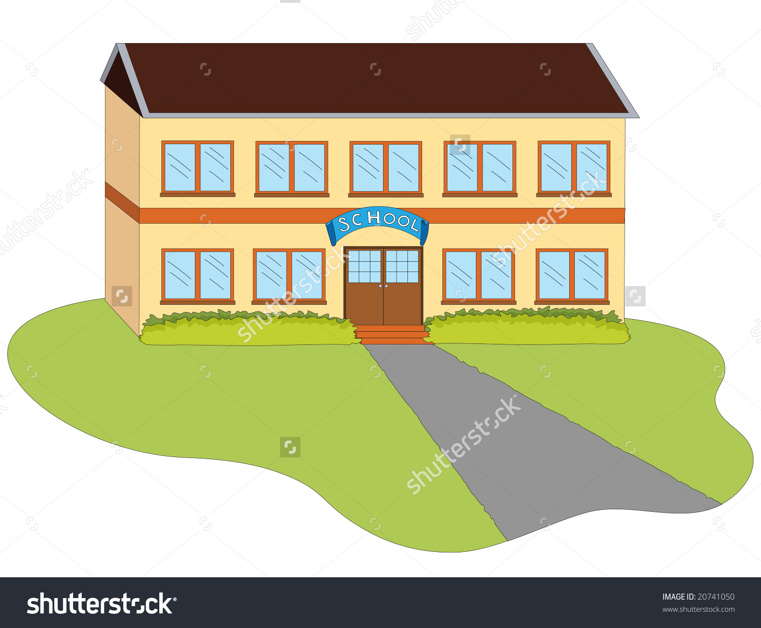 Entrance To A School Building On A White Background Stock Photo.