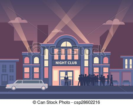 Vector Clip Art of Building Night Club with Queue at the Entrance.