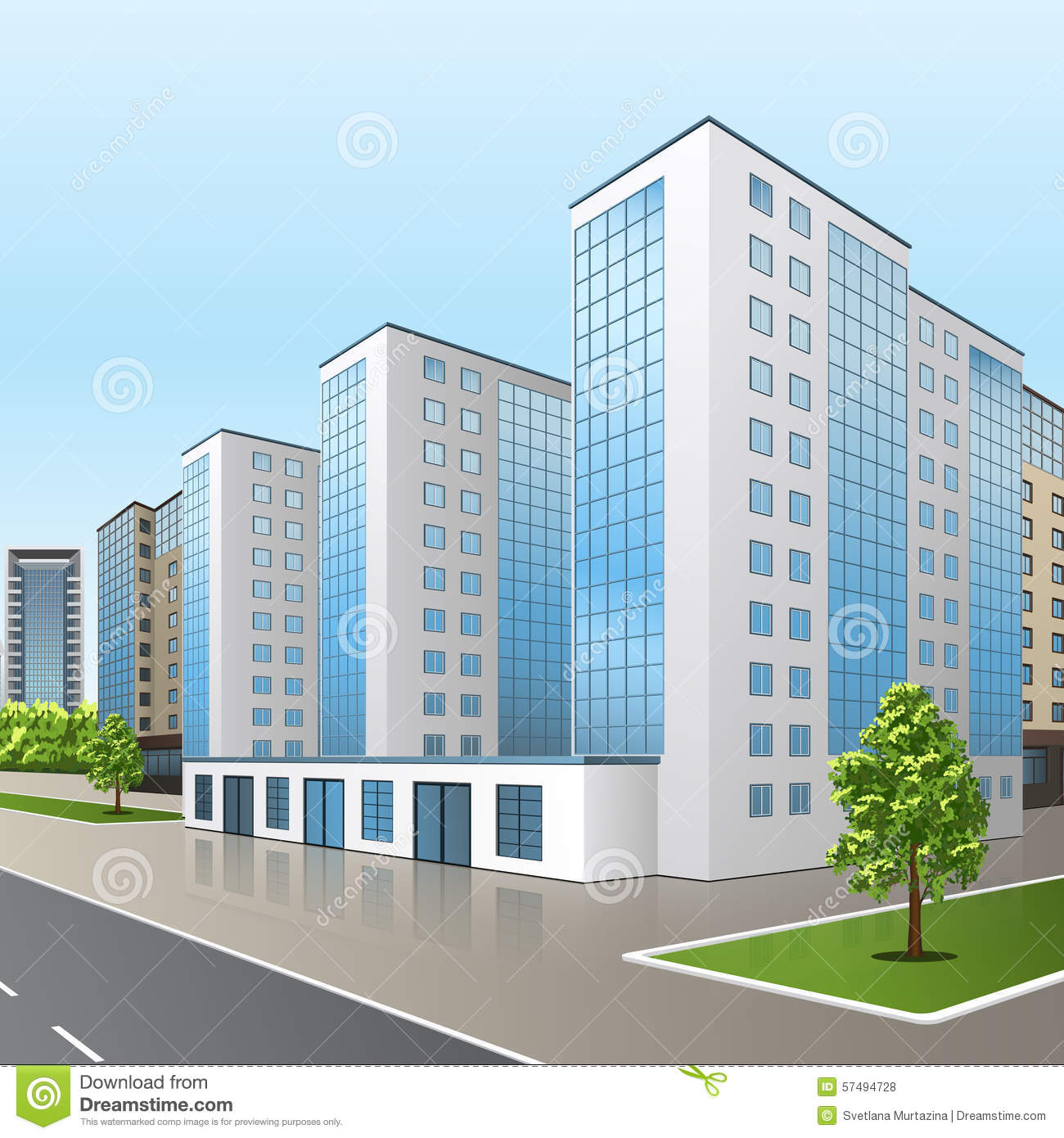 Office Building With An Entrance And Reflection Stock Vector.