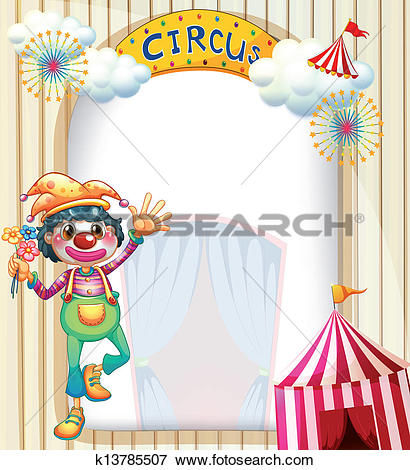 Clip Art of A circus entrance with a clown k13785507.