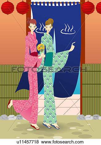 Stock Illustration of Two young women Kimono in front of sauna.