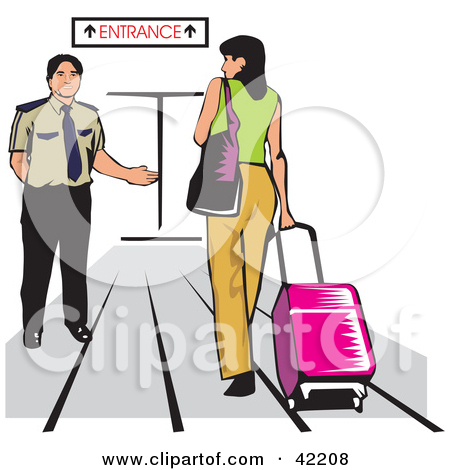 Clipart Illustration of a Male Airport Attendant Directing A Woman.