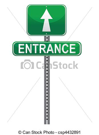 Vector Clip Art of entrance street sign isolated over a white.