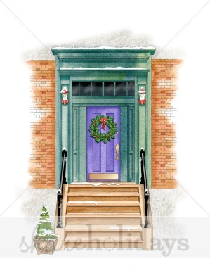 Front Door With Steps Clipart.