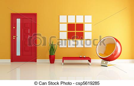 Stock Illustrations of red and orange home entry foyer.