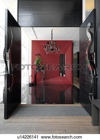Stock Photography of Modern entrance foyer with red wall u14226141.