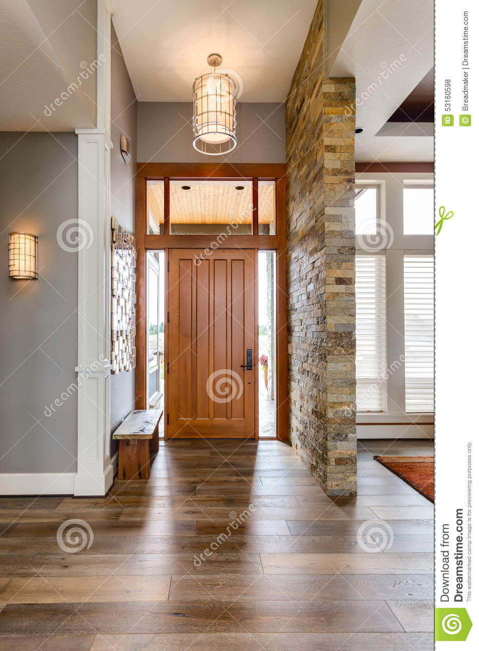 Entryway/Foyer In New Luxury Home Stock Photo.