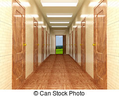 Stock Illustrations of Interior of modern entrance hall 3d.
