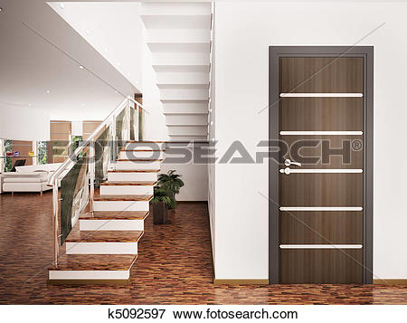 Stock Illustration of Entrance hall interior 3d render k5092597.