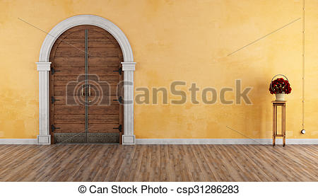 Stock Illustration of Home entrance with old portal and wooden.