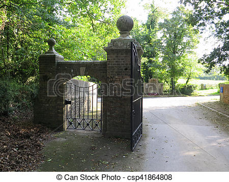Stock Photography of Wrought Iron gates and entrance portal to.