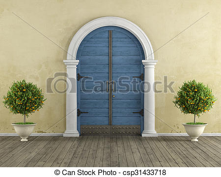 Clipart of Retro Home entrance with old portal and blue wooden.
