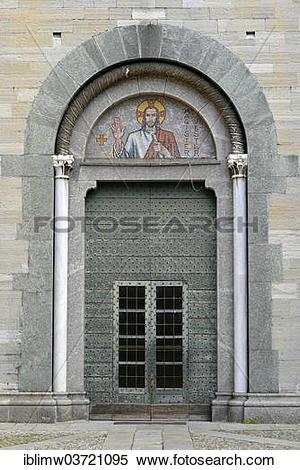 "Stock Image of ""Cast iron entrance portal, Romanesque Basilica of."