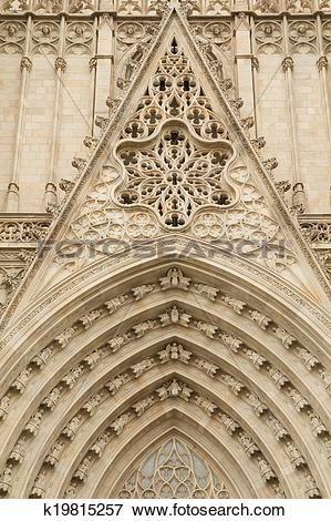 Picture of Entrance portal of Gothic Barcelona Cathedral k19815257.