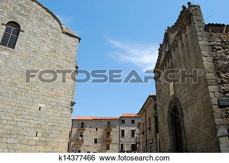 Stock Images of Church Square of Tempio Pausania.
