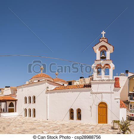 Stock Images of Lerapetra church Square pano.