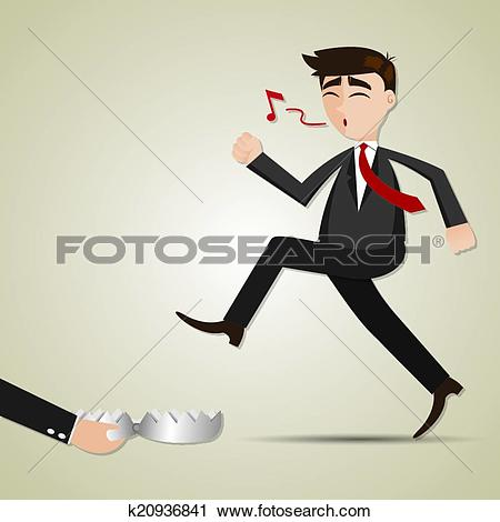 Clipart of cartoon businessman with entrapment k20936841.