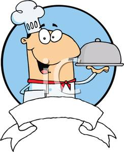 Colorful Cartoon of a Gourmet Chef Serving a New Entree.