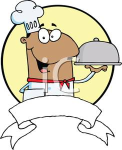 Colorful Cartoon of an Hispanic Chef Serving an Entree.